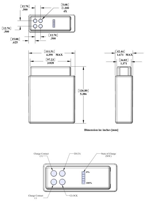 PB-LWH-01-NC Land Warrior Battery - High Capacity Drawing